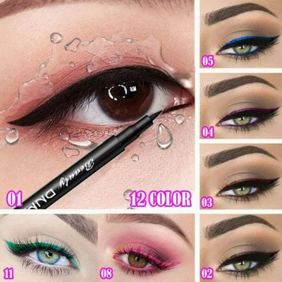 12 colors Liquid Makeup Eyeliner Pencil Makeup Frosted Eyeliners