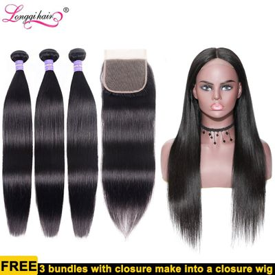 Longqi Hair Custom Wig Straight Hair 3 Bundles with Closure 4x4 Lace Made into 4x4 Lace Closure Wig DIY Straight Lace Front Wig