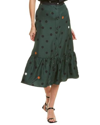 Chinti & Parker Painted Spot Silk Midi Skirt