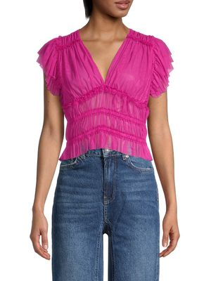 Free People Ruffled Cropped Top