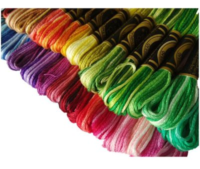 Free shipping similar DMC color variation variegated cotton embroidery thread/yarn cross stitch thread floss 35 colors available