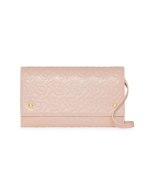 Burberry Hazelmere Embossed Leather Convertible Wallet