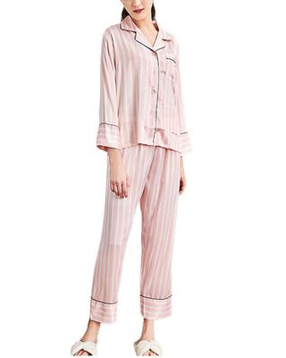 Yaoting 2pc Silk Night Gown & Pant Set