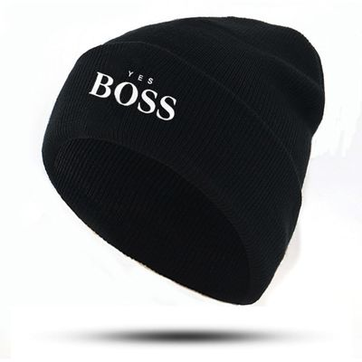 new YES BOSS hat letter embroidery knitted beanie cap for Autumn Winter cotton flexible bone hip hop ski beanies unisex