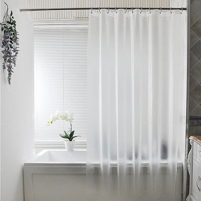 Waterproof Translucent brushed Shower Curtain Bathroom Curtain Plastic Polyester Punch-free Thickened Luxury Bath Curtain W/Hook