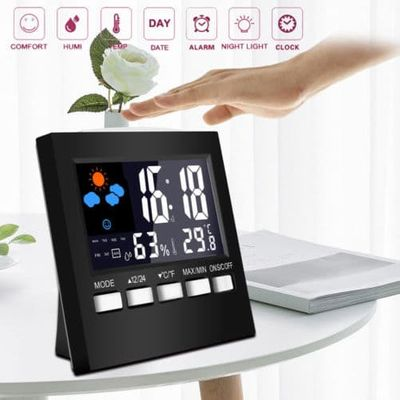 US STOCK New Digital Display Thermometer humidity clock Colorful LCD Alarm Calendar Weather Pop