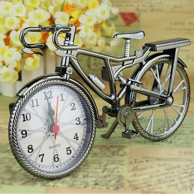 high quality Home Garden New Vintage Arabic Numeral Bicycle Shape Creative Table Alarm Clock Home Decor garden clock