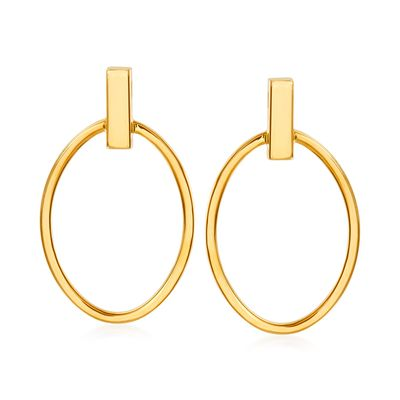 Ross-Simons 14kt Yellow Gold Open-Space Oval Drop Earrings