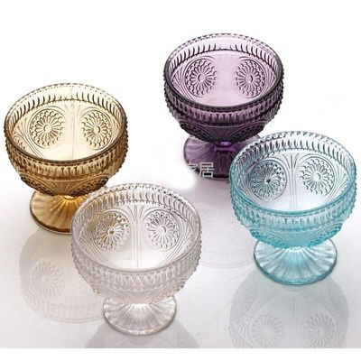 Ice Cream Cups Glass 10 oz 300 ml Dessert Bowls for Trifle Fruit Salad Cocktail Glass Solid Glass Blue Yellow Purple Transparent