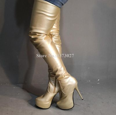Gold Color Platform Long Boots Woman New Arrival Fashion Leather Thin Heel Thigh High Boots Ladies Large Size Over the Knee Boot