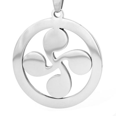 lauburu Basque cross pendant A sign round pendat both sides mirror polished stainless steel jewelry making charms 1pcs