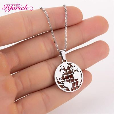 Hfarich Stainless Steel Necklace World Map Fashion Necklaces for Women 2019 Statement Earth Globe Layer Necklace  Jewelry collie