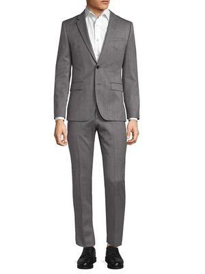 Hugo Boss Red Textured Wool Suit
