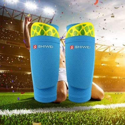 1 Pair Football Shin Guards With Pocket Practical Leg Sleeves Adult Support Sock Nylon Solid Color Shin Protector Soccer Gear
