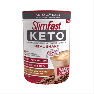 SlimFast Keto Meal Replacement Shake Powder, Creamy Coffee Cappuccino, 13.3 Oz Meal Replacement Powder Pack of 1