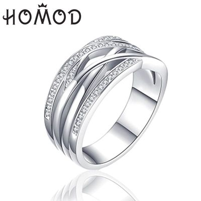 HOMOD New Silver Color Sparkling Braided Pave Brand Ring for Women Wedding Luxury Exaggerated Big Twisted Jewelry Dropshipping