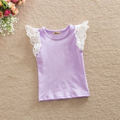 Summer Infant Kids Cotton T-Shirt Baby Girls Princess Lace Sleeve Tops