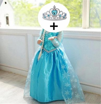 Fancy 4-10y Baby Girl Princess Dress for Girls Clothing Wear Cosplay Costume Halloween Christmas Party With Crown