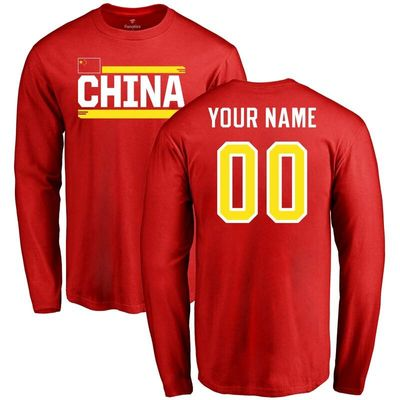 China Personalized Name & Number Long Sleeve T-Shirt - Red