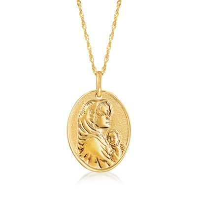 Ross-Simons Italian 14kt Yellow Gold Blessed Mother Adjustable Pendant Necklace