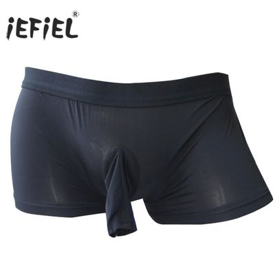 iEFiEL Mens Open Pouch Sissy Penis Wetlook Sexy Panties for Men Sheath Bulge Boxer Shorts Jockstraps Gay Underwear Underpants