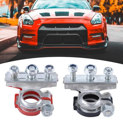 durable 1 Pair Car Automotive Top Post Battery Cable Wire Terminals Clamp Connectors anti-oxidation anti-corrosion waterproof