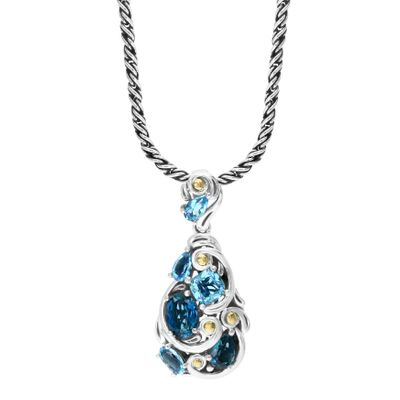 Effy Jewelry Blue Topaz Pendant in 925 Sterling Silver with 18K Yellow Gold Plating, 0 TWC