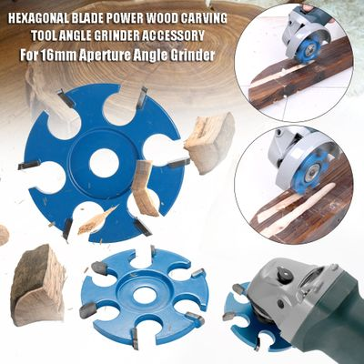 Hexagonal Blade Fillet Anti-reverse Power Wood Carving Tool Angle Grinder Accessory for 16mm Aperture Angle Grinder Saw Blades