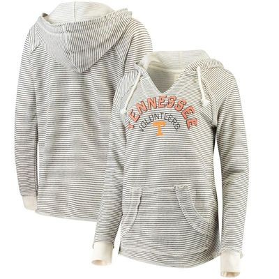 Tennessee Volunteers Blue 84 Women's Striped French Terry V-Neck Pullover Hoodie - Cream