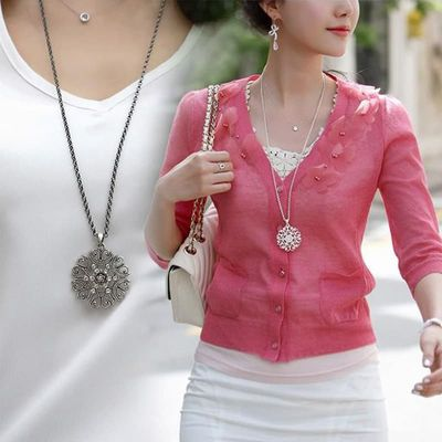 Fashion Women Crystal Hollow Flower Necklace Long Chain Pendant Necklaces Jewelry Gift @CX17
