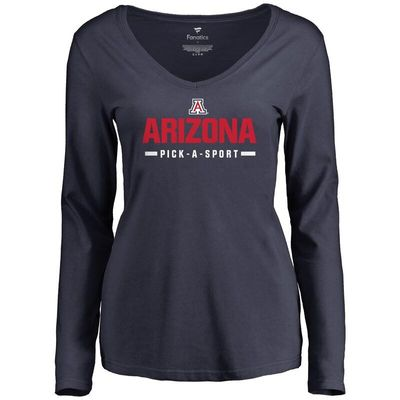 Arizona Wildcats Women's Custom Sport Wordmark Long Sleeve T-Shirt - Navy