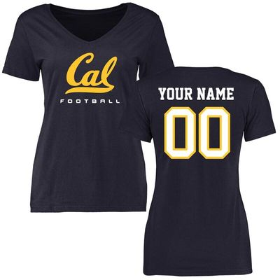 Cal Bears Women's Personalized Football T-Shirt - Navy