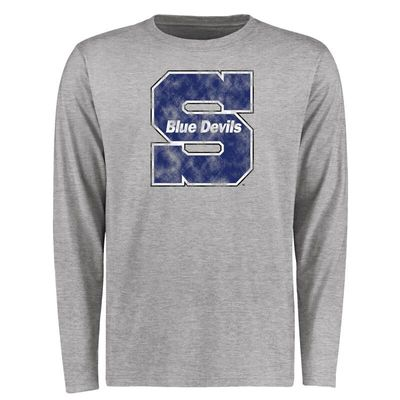 Wisconsin Stout Blue Devils Big & Tall Classic Primary Long Sleeve T-Shirt - Ash
