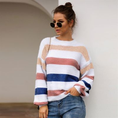 2019 New Women Sweaters Pullover Plus Size Women Knitted Stripe Patchwork Long Sleeve O-Neck Sweater Top Winter Knitted Sweater