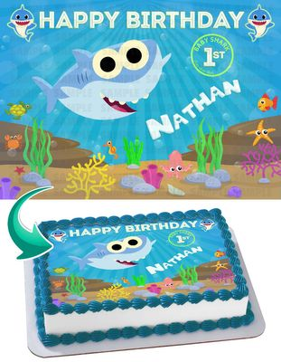 Baby Shark Boy Edible Cake Image Topper Personalized Picture 1/4 Sheet (8