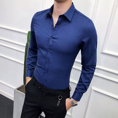 High Quality Men Shirt Long Sleeve Solid Formal Business Shirt Slim Fit Brand Man Dress Shirts Social Turn-down Collar 6Colors