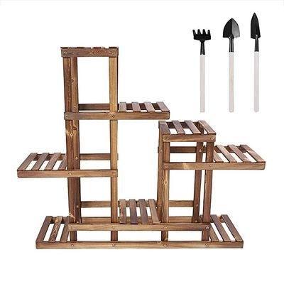 Wooden Multilayer Standing Potted Plant Storage Rack Shelf Household