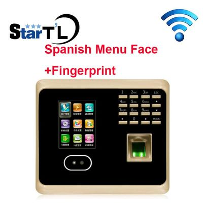 Free Shipping Spanish Menu Face Time Attendance Fingerprint Time Attendance tcp/ip+wifi Biometric Face Time Recording Attendance