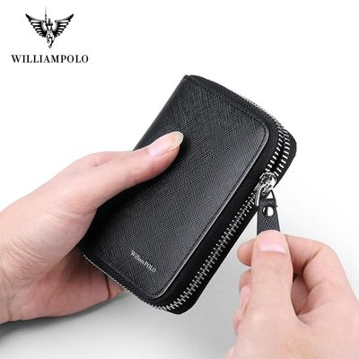 WILLIAMPOLO Fashion  100% Leather Zipper Small Wallet Portefeuille Homme Mini Wallet PL171320