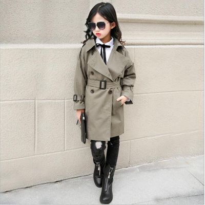 Girl Trench Coat 2019 Autumn Winter Belt Double-breasted Kids Trench Coat Fashion High-grade  Teenage Long Windbreaker 10 12