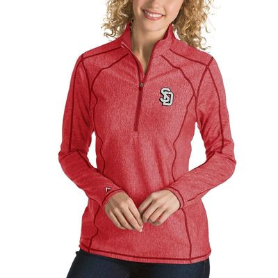 South Dakota Coyotes Antigua Women's Tempo 1/4-Zip Desert Dry Pullover Jacket - Red