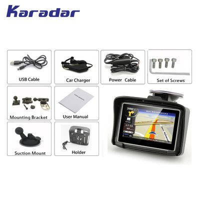 KARADAR Waterproof Motorcycle GPS - 4.3 Inch Win CE 6.0 Car GPS Navigator - Built-in 8G Map