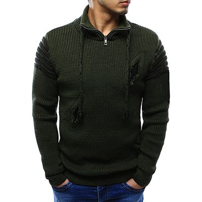 Sweater Pullover Men Male Casual Slim Sweaters Men High Quality Zipper Holes Sweater Knitted
