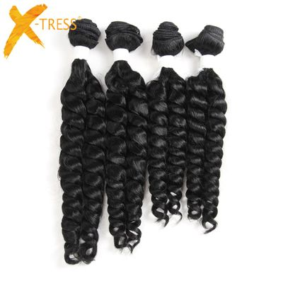 X-TRESS Funmi Curly Synthetic Hair Weave 4 Bundles Natural Black Color Short Hair Weft Extensions High Temperature Fiber Weaving