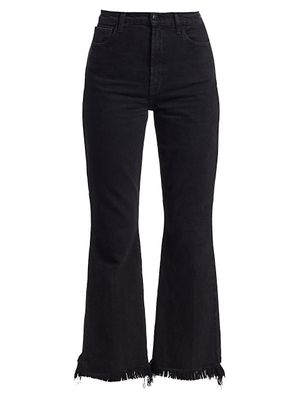 J Brand Julia High-Rise Frayed Hem Crop Flare Jeans
