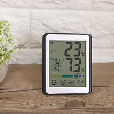 【2019Upgraded Version】Multifunction Digital Thermometer Hygrometer Temperature Humidity Gauge Touchscreen Backlight