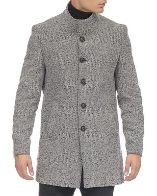 Rom Tomson Stand Collar Chesterfield Coat