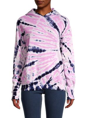 Monrow Tie-Dyed Cotton Hoodie