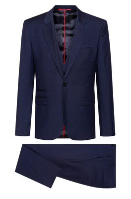 HUGO BOSS - Extra Slim Fit Three Piece Suit In Patterned Wool