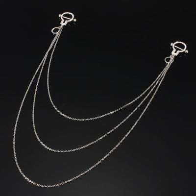 Handcuff Nipple Ring Bars Long Chain Stainless Steel Body Piercing Lady Fashion Puncture Crystal Rhinestone Jewelry